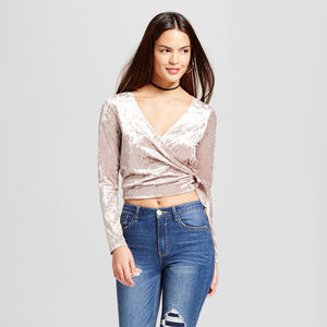 Le Kate from target velvet crushed crop top NWT